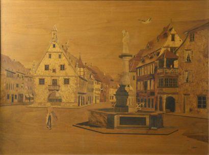 E. MAURER (XXe siècle)  Place du marché à...