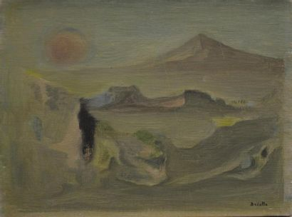 Roger BRIELLE (1899-1960)  Paysage surréaliste...