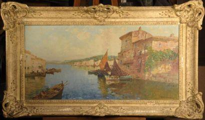 MERIO AMEGLIO (1897-1970)  Vue de port d'un...