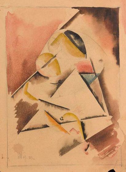 Ecole francaise vers 1910  Sans titre  Deux aquarelles et crayon noir  H. 34, cm...