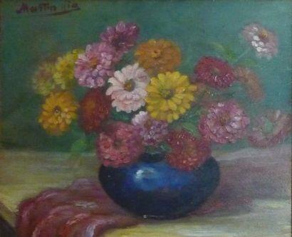 MARTIN VIA (XXe siècle)  Bouquet de fleurs...
