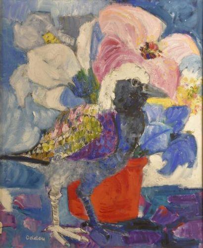 Simone ODDOU (1911-2003)  Oiseau au vase...