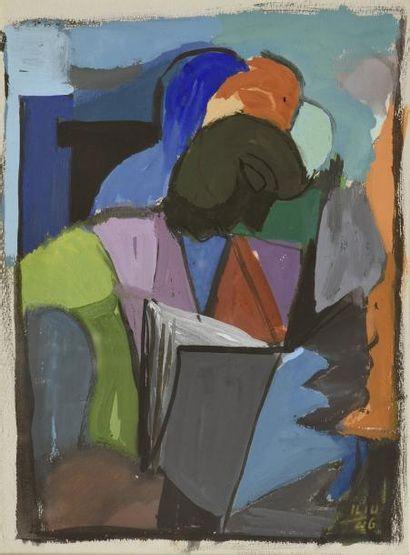 Joseph ILIU (1914-1999)  Femme à la lecture,...