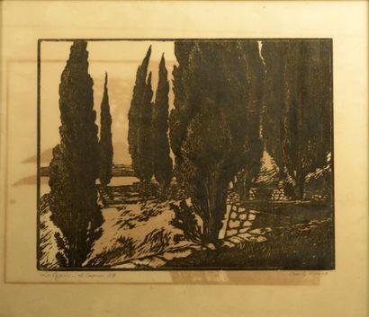 Charly BERRIAT (XXe siècle)  Les Cyprès,...