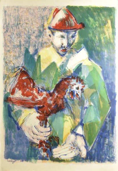 Bernard LORJOU (1908-1986)  Arlequin  Lithographie,...