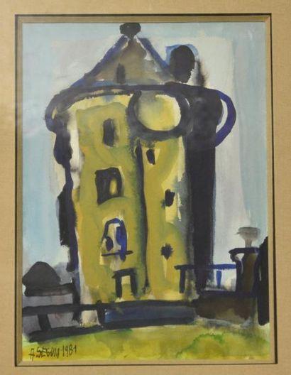Adrien SEGUIN (1926-2005)  Moulin, 1981  Aquarelle,...
