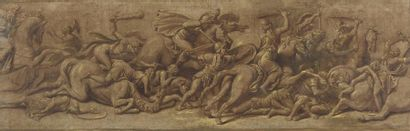 *Attribué à Giulio ROMANO (Rome 1499-1546) Le combat des grecs contre les amazones...