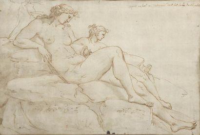 Ecole française du XVIIe siècle Deux figures...