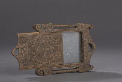 Petit miroir à encadrement de bois et couvercle...