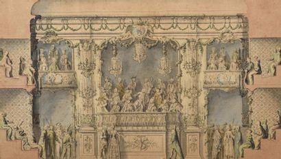 Attribué à François Marie BLONDEL et Charles EISEN Coupe sur le côté de l'orchestre,...