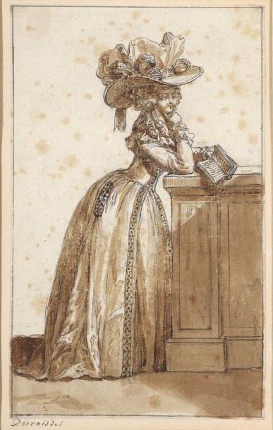 Claude Louis DESRAIS (Paris 1746 - 1816) Deux figures de mode en pied Plume et encre...