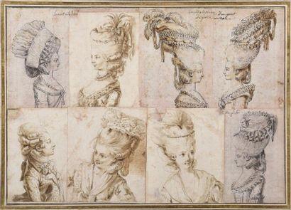 Claude Louis DESRAIS (Paris 1746 - 1816) Huit projets de coiffe Plume et encre de...