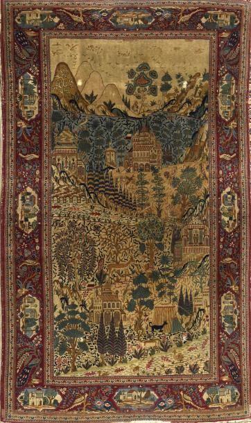 Trés origînal et fin Kachan en soie (Iran)...