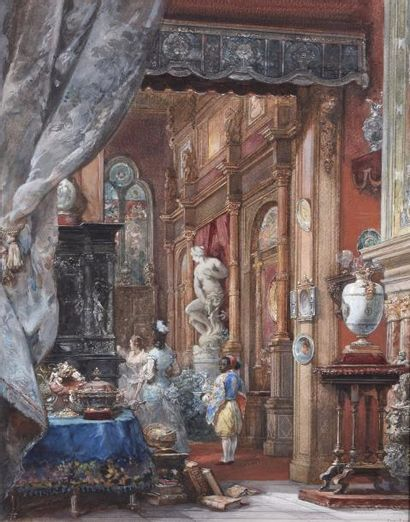 Eugène Louis LAMI (Paris 1800-1890) Vue intérieure...