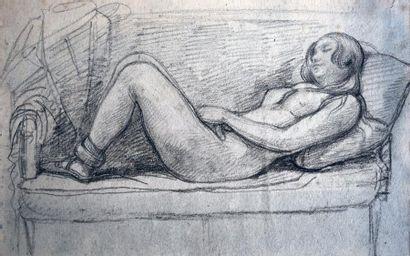 Ecole romantique Femme nue allongée sur un canapé Crayon noir H. 18 cm - L. 28,5...