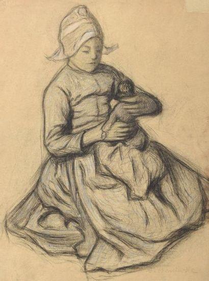 Augustin HANICOTTE (1870-1957) Petite fille...