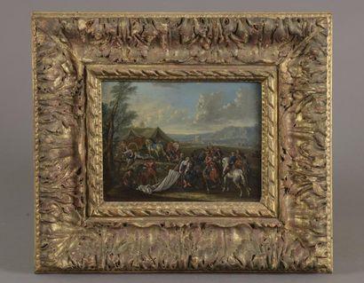 Ecole FLAMANDE ou ALLEMANDE du début du XVIIe siècle Campements de cavaliers Deux...