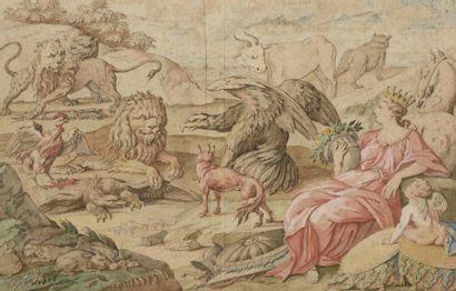 Ecole du Nord du XVIIIe siècle Figure allégorique entourée d'animaux, probablement...