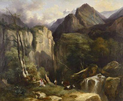 Jules COIGNET (Paris 1798 - Paris 1860) Paysage...