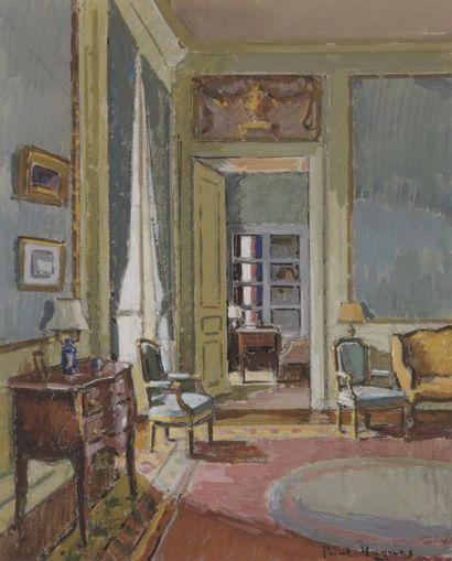 Paul HUGUES (1891-1950) Intérieur à la commode...