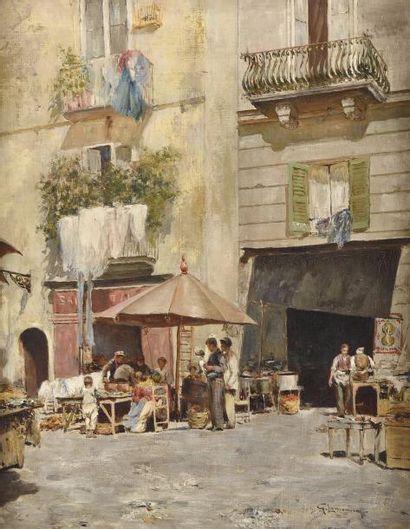 Giuseppe LAMONICA (1862-1919) Scène de marché...