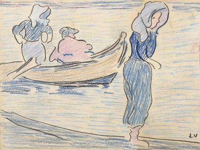 Louis VALTAT (Dieppe 1869 - Paris 1952) Barque...