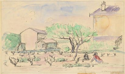 Henri LEBASQUE (1865-1937) Enfants au jardin...