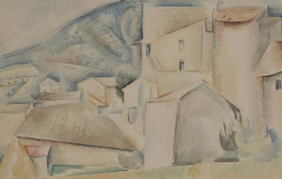 André LHOTE(1885-1962) Paysage cubiste, village...
