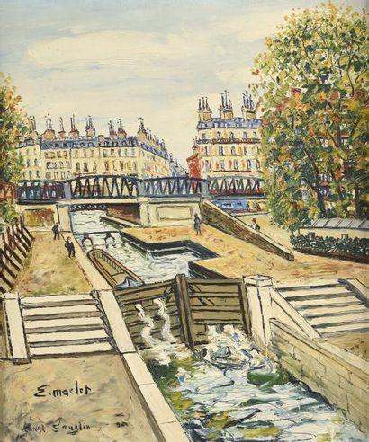 Elisée MACLET (1881-1962) Le canal Saint-Martin...