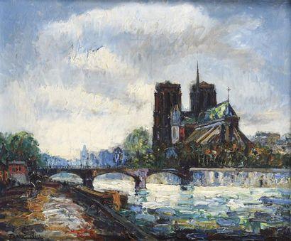 Franck WILL (1900-1951) Les quais et Notre-Dame...