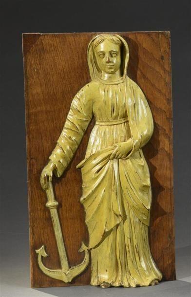 Sainte Philomène Panneau en chêne sculpté,...