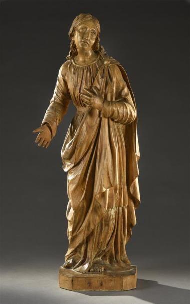 Saint personnage Sculpture en bois sculpté...