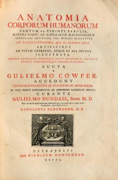 COWPER (Gulielmo) ANATOMIA CORPORUM HUMANORUM... ULTRAJECTI, NICOLAUM MUNTENDAM,...