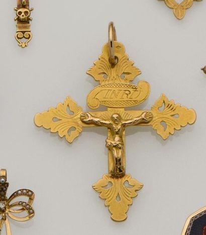 Grande croix grille de Chambéry en or jaune...