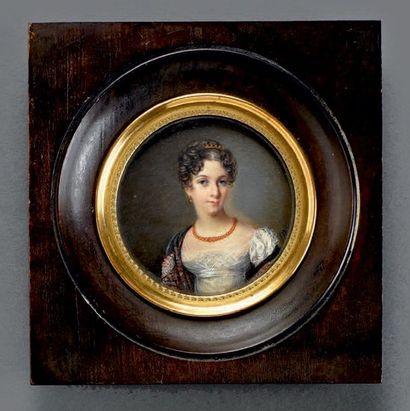Miniature sur ivoire: Portrait de jeune femme...