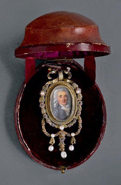 Miniature ovale sur ivoire portrait d'un...