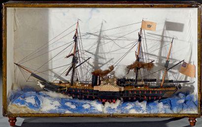 Maquette de vaisseau de guerre anglais deux...