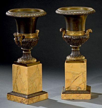 Paire de vases Médicis en bronze patiné et...