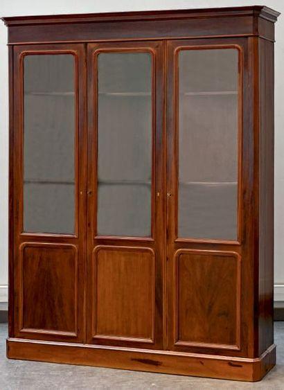 Bibliothèque en partie vitrée en placage...
