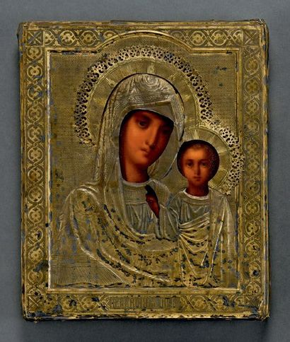 Vierge de KAZAN Huile sur bois, oklad en...