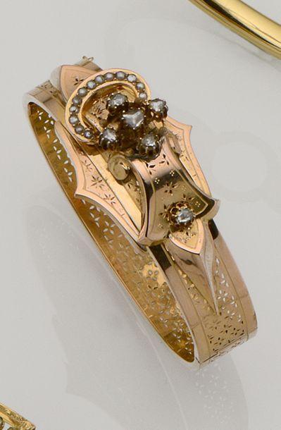 Bracelet jonc ouvrant en or rose 18K (750/°°)...