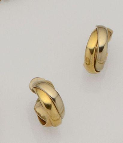 Paire de créoles trois anneaux en or de trois...