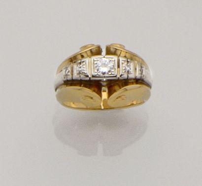 Bague dôme en or de deux tons 18K (750/°°)...