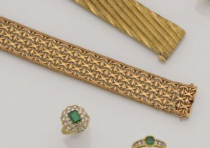 Bracelet ruban souple en or jaune 18K (750/°°)...