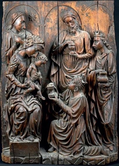 Adoration des Mages Panneau en chêne sculpté...