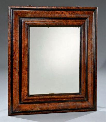 Beau miroir rectangulaire en placage de ronce...