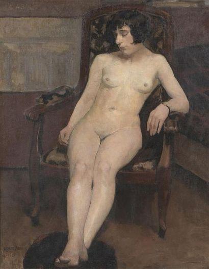 Albert ABOU (XIX-XXe) * Kiki nue Huile sur toile encadrée, signée et datée 1927 en...