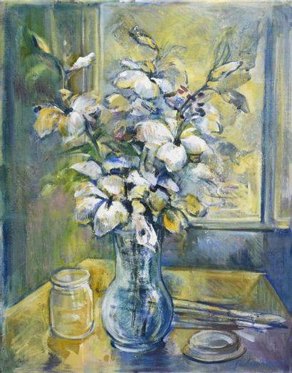 Marcela de BAUBEAU de SECONDIGNÉ (née en 1952) Bouquet de fleurs à l'atelier, 1998...