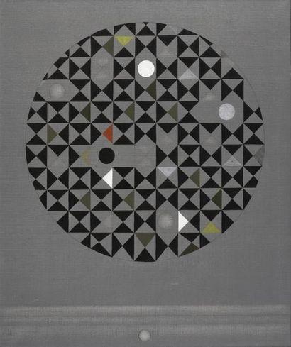 Raymond GRANDJEAN (1929-2006) Noir-Musique, 1966 Huile sur toile, signée en bas...