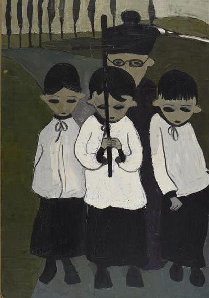 Marie-Thérèse BOURRAT (née en 1938) L'Enterrement Huile sur toile, signée en haut...